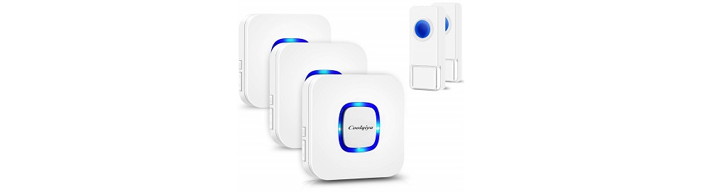 Coolqiya Wireless Doorbell with 2 Remote Button and 3 Plugin Receiver
