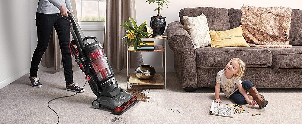 Hoover WindTunnel 3 High Performance Pet Bagless Corded Upright Vacuum UH72630PC, Red