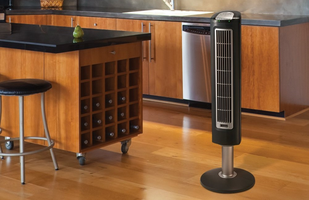 Lasko 2519 3-Speed Wind Tower Fan with Remote Control, 1-Pack Black