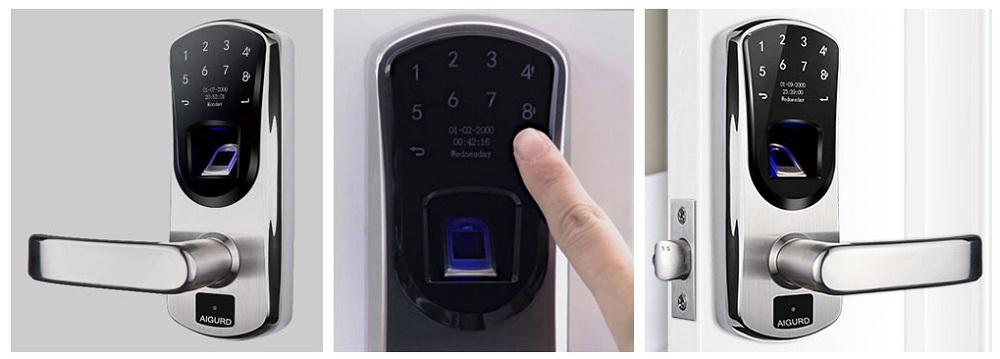 AIGURD Fingerprint Smart Door Lock, Biometric Keyless Electronic Lock, Touchscreen 304 Stainless Steel Keypad Lock(F22 Right Handle)