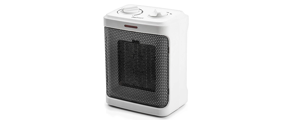 Pro Breeze 1500W Mini Ceramic Space Heater with 3 Operating Modes and Adjustable Thermostat - White