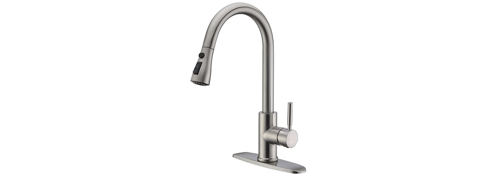 WEWE Single Handle High Arc Brushed Nickel Pull out Kitchen Faucet Review